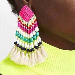 Rosa Fiesta Tassel Drop Earrings